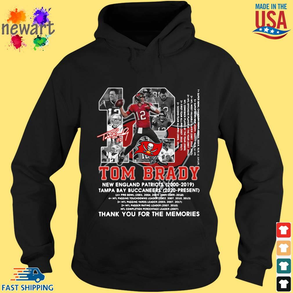 12 Tom Brady New England Patriots 2000-2019 Tampa Bay Buccaneers 2020-present thank you for the memories signature s hoodie den