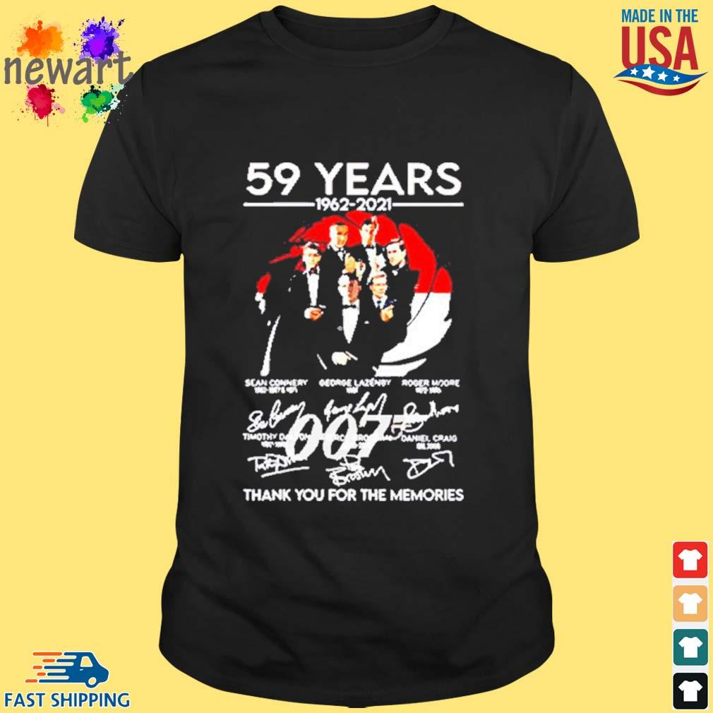 59 Years Of 007 1962 2021 Thank You For The Memories Signatures Shirt