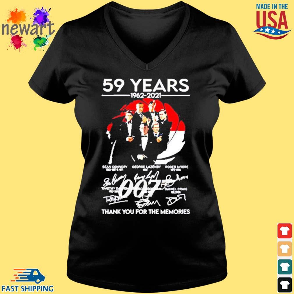 59 Years Of 007 1962 2021 Thank You For The Memories Signatures Shirt Vneck den