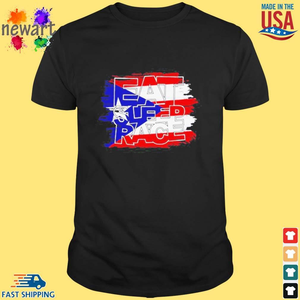 American Flag Eat Sleep Race Shirt