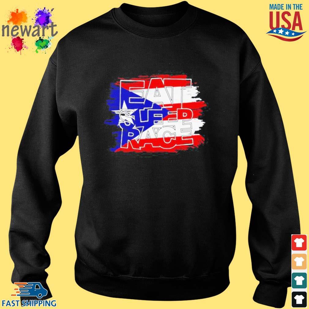 American Flag Eat Sleep Race Shirt Sweater den