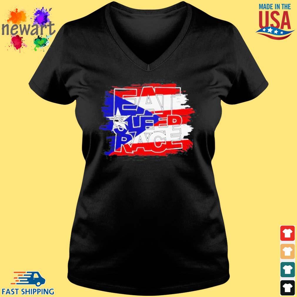 American Flag Eat Sleep Race Shirt Vneck den