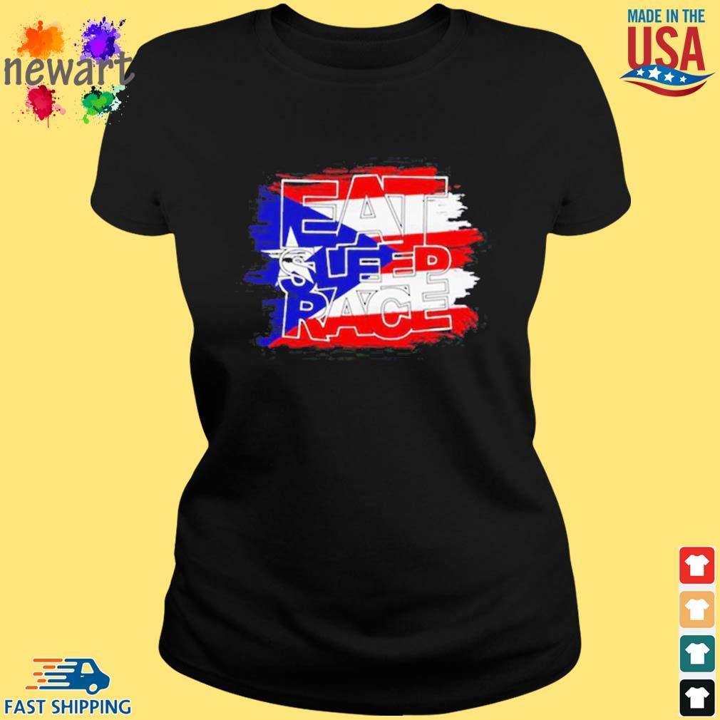 American Flag Eat Sleep Race Shirt ladies den