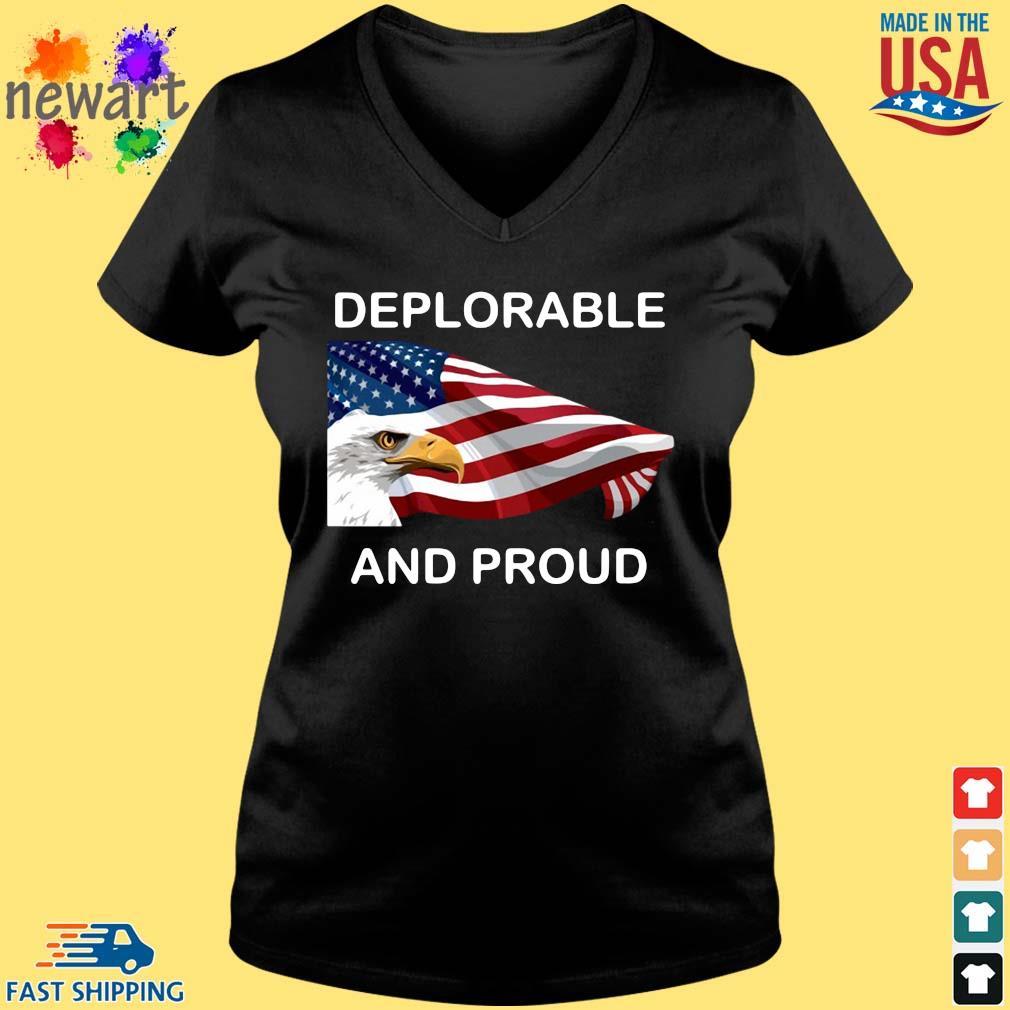 Eagles American flag deplorable and proud s Vneck den