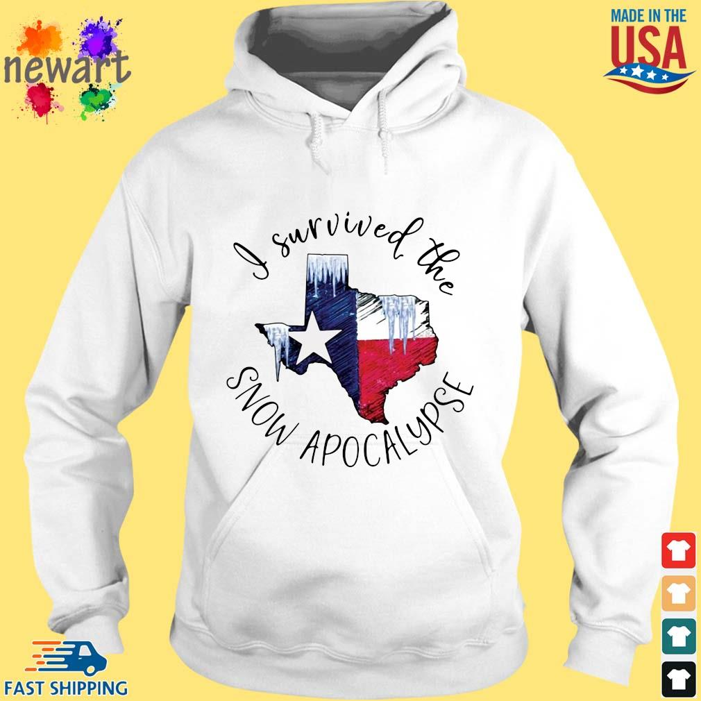 I survived the snow apocalypse Texas flag hoodie trang