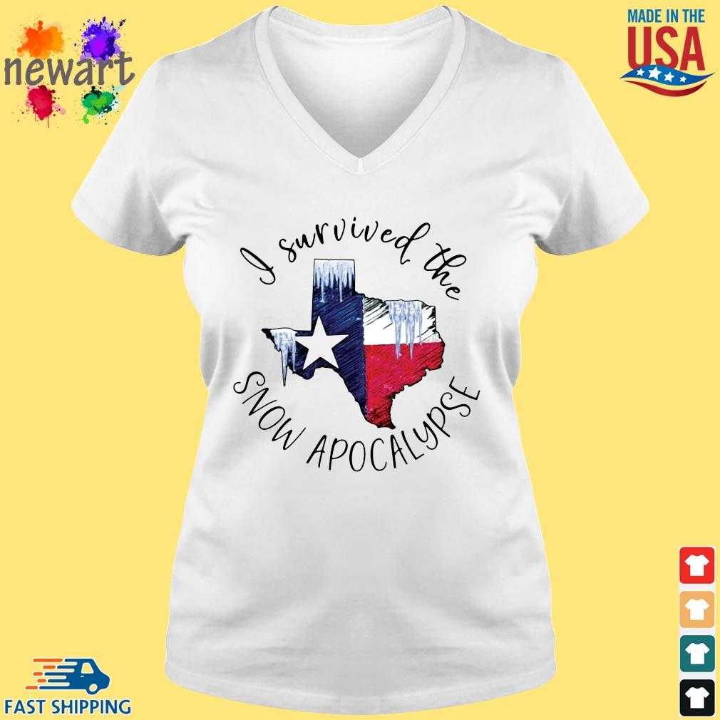 I survived the snow apocalypse Texas flag vneck trang
