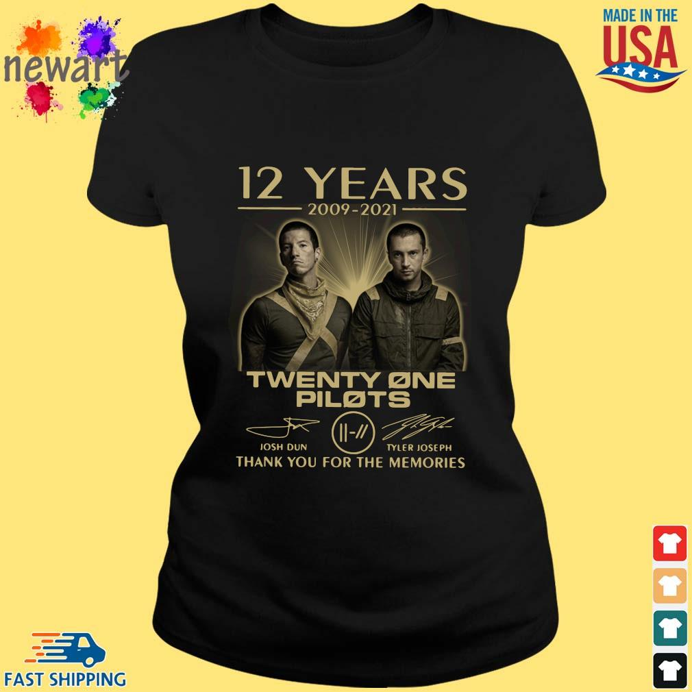 12 Years 2009-2021 Twenty One Pilots Thank You For The Memories Signatures Shirt ladies den