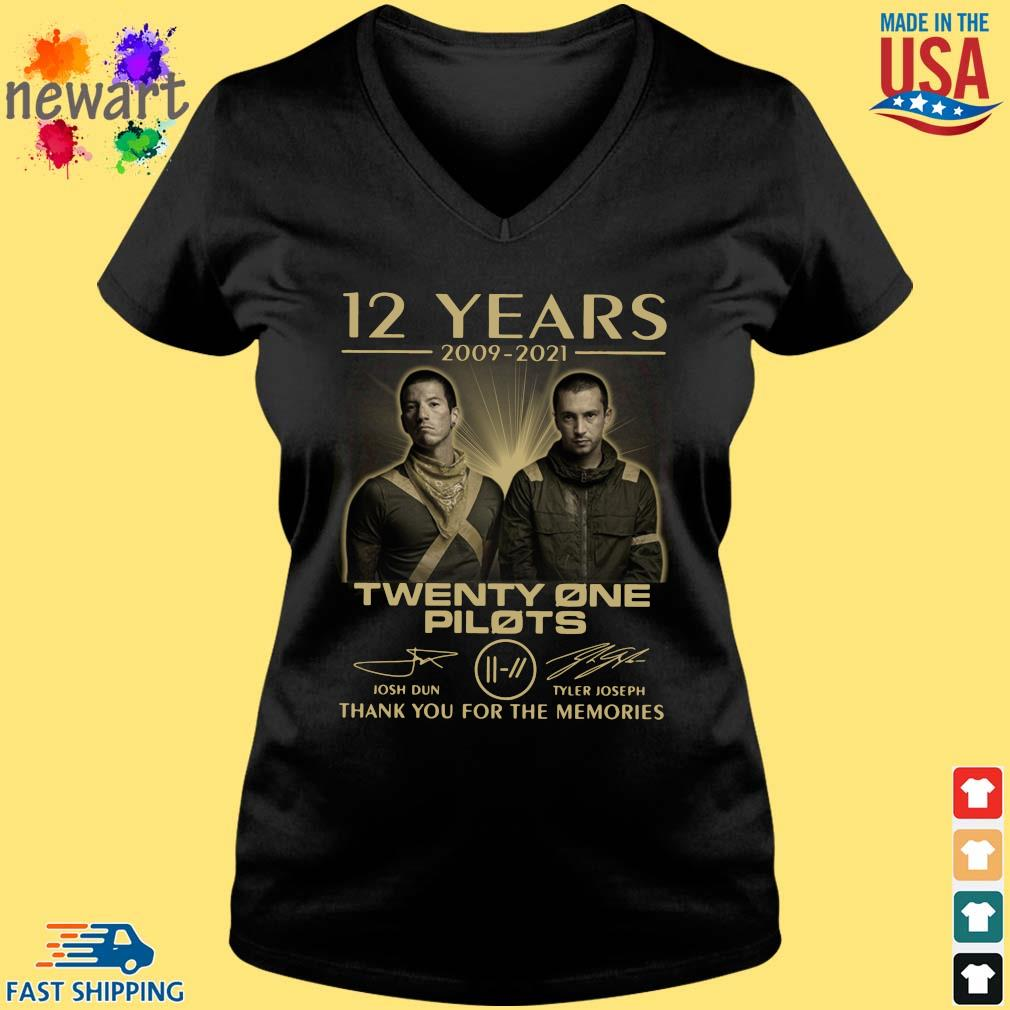 12 Years 2009-2021 Twenty One Pilots Thank You For The Memories Signatures Shirt Vneck den