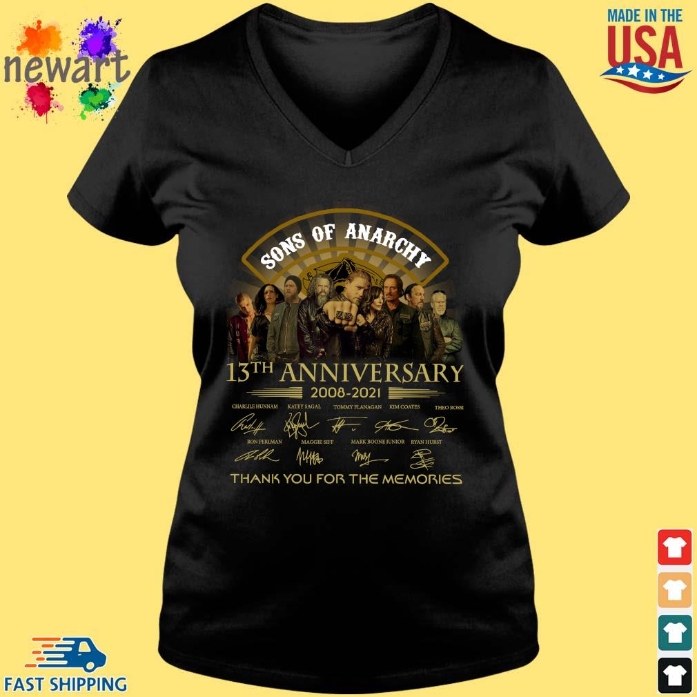 13th Anniversary 2008-2021 Sons Of Anarchy Thank You For The Memories Signatures Shirt Vneck den