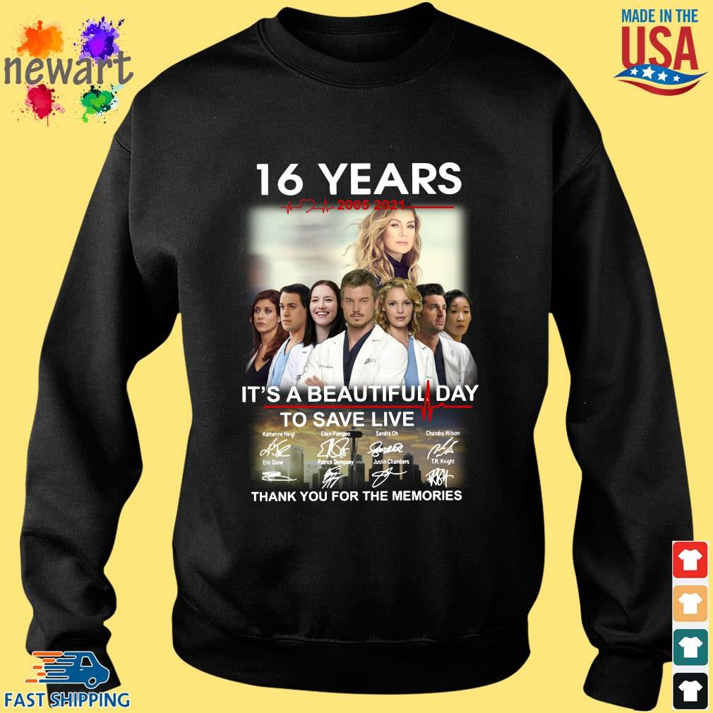 16 years 2005-2021 Grey's Anatomy it's a beautiful day to save live thank you for the memories signatures Sweater den