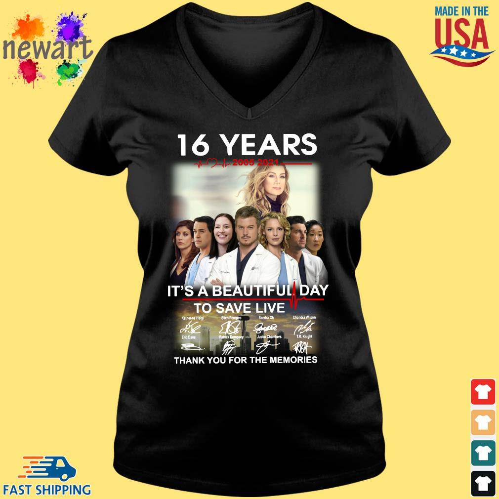 16 years 2005-2021 Grey's Anatomy it's a beautiful day to save live thank you for the memories signatures Vneck den