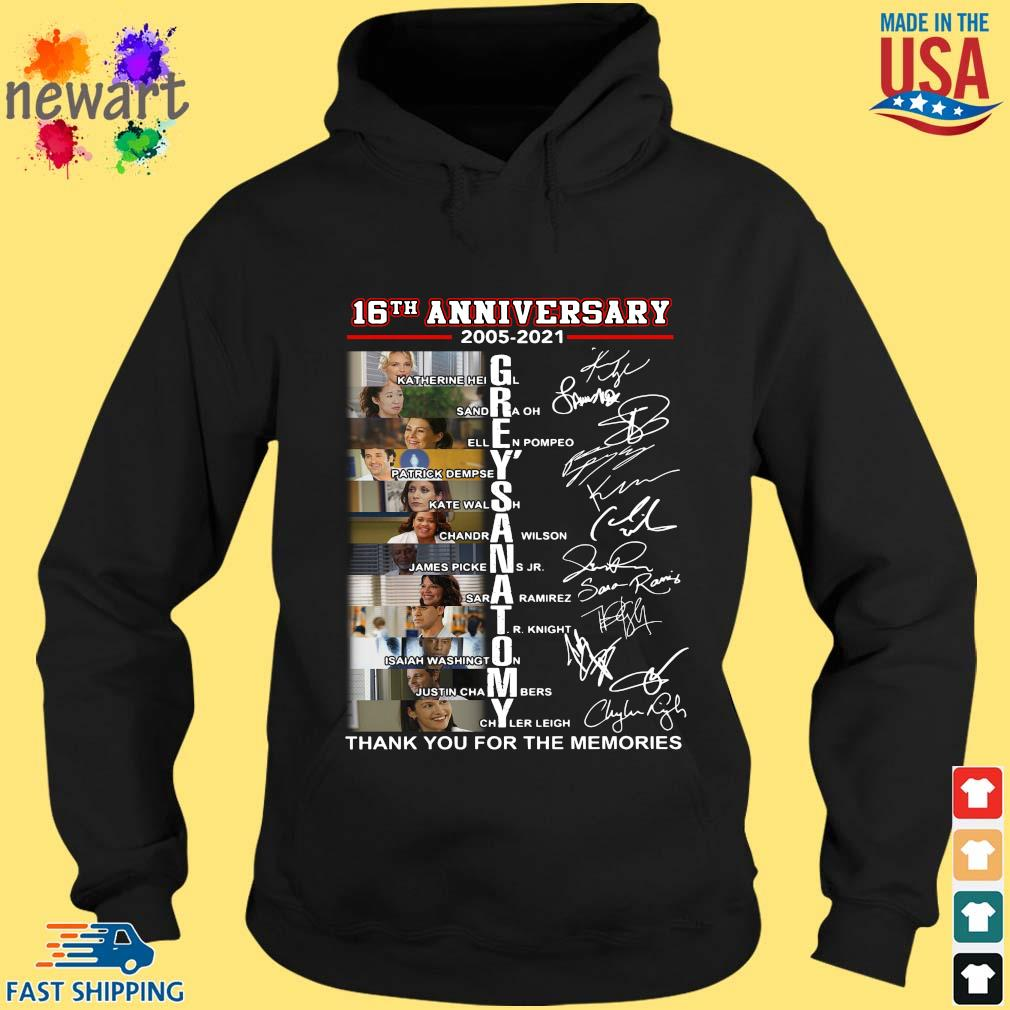 16th anniversary 2005-2021 Grey's Anatomy thank you for the memories signatures hoodie den