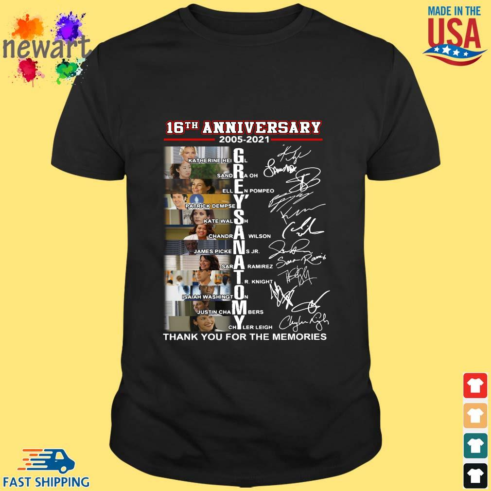 16th anniversary 2005-2021 Grey's Anatomy thank you for the memories signatures shirt