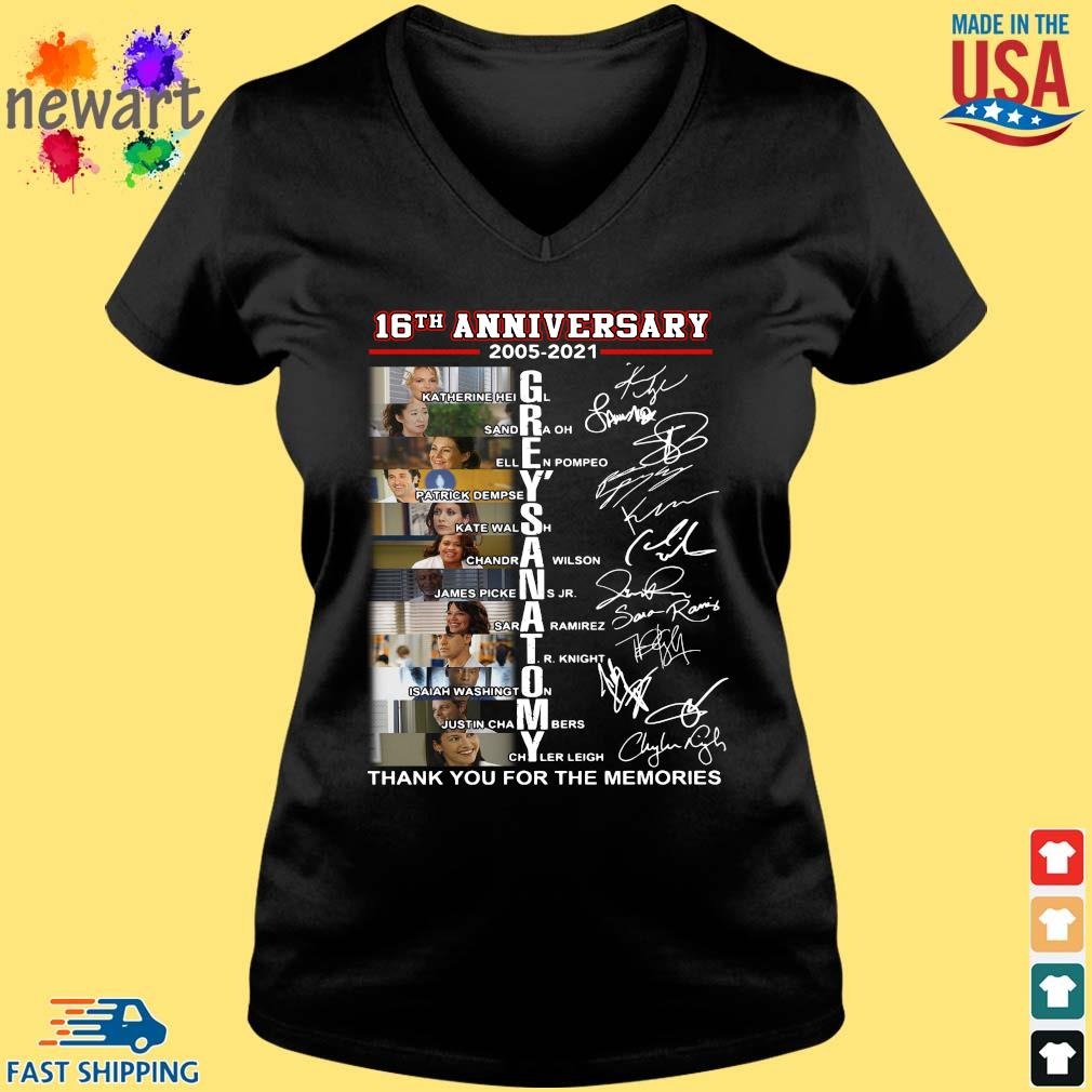 16th anniversary 2005-2021 Grey's Anatomy thank you for the memories signatures Vneck den
