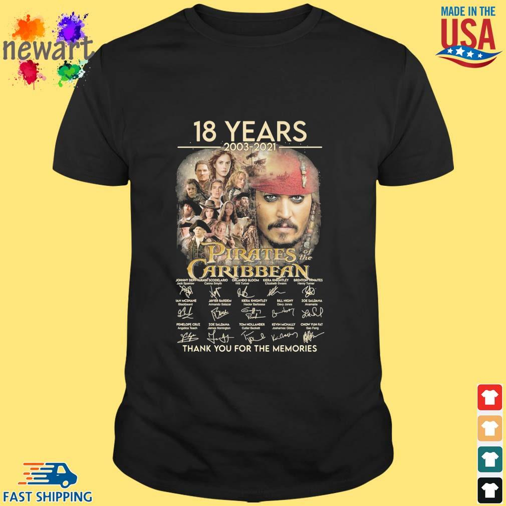 18 years 2003-2021 Pirates Caribbean thank you for the memories signatures shirt