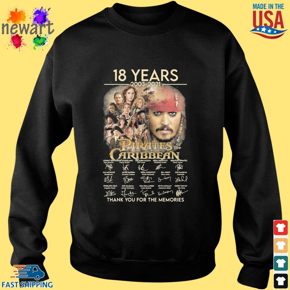 18 years 2003-2021 Pirates Caribbean thank you for the memories signatures Sweater den
