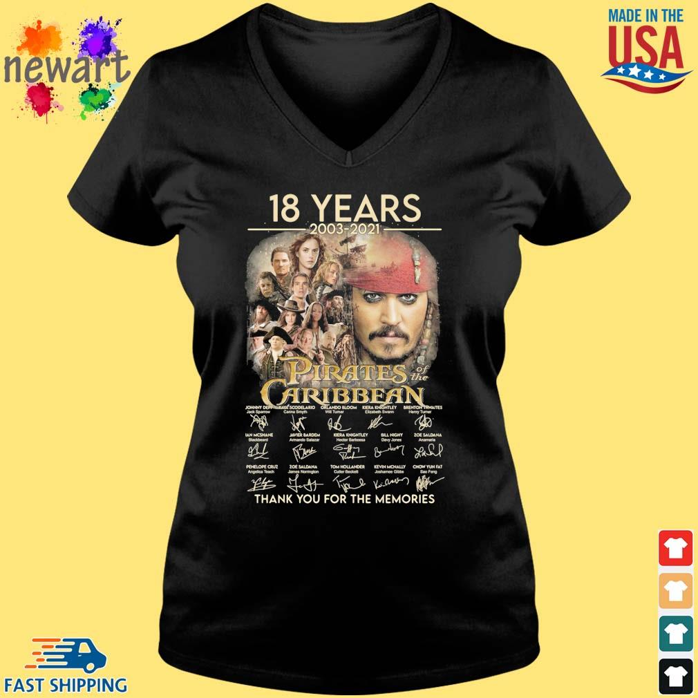 18 years 2003-2021 Pirates Caribbean thank you for the memories signatures Vneck den