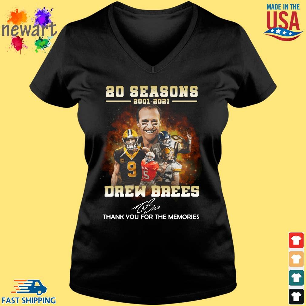 20 Seasons 2001 2021 Drew Brees Thank You For The Memories Signature Shirt Vneck den