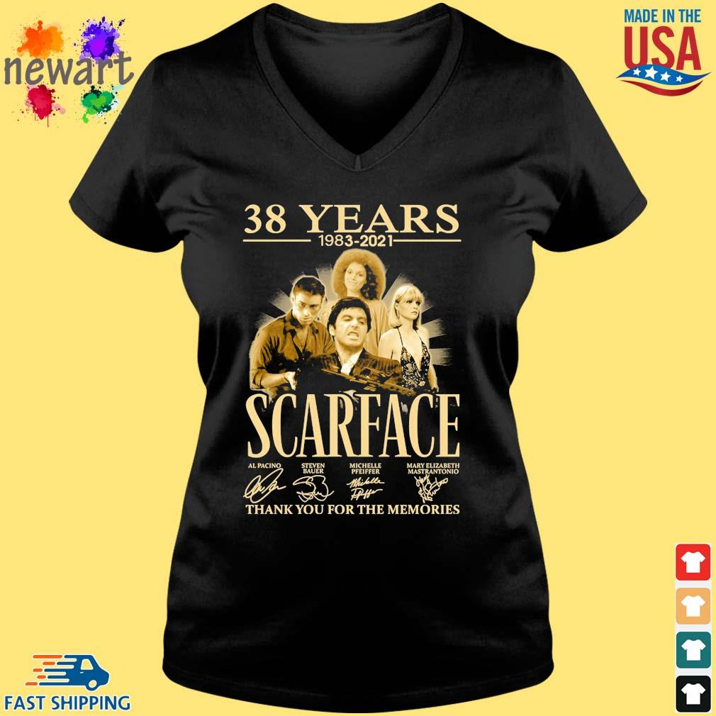 38 Years 1983 2021 Scarface Thank You For The Memories Signatures Shirt Vneck den