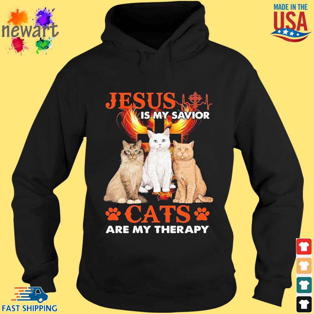Jesus is my savior cats are my therapy hoodie den