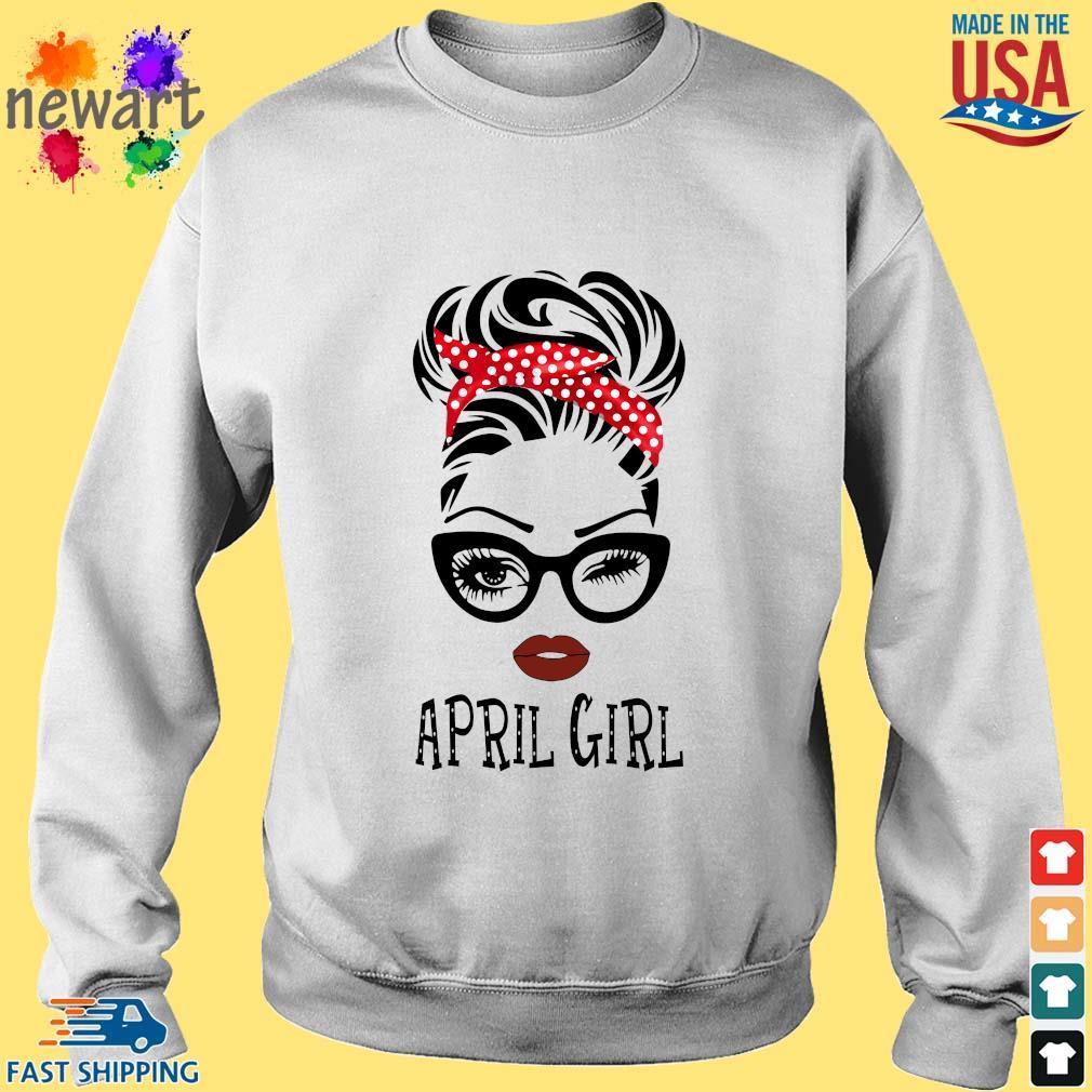 April Girl Face Wink Eye Shirt Sweater trang