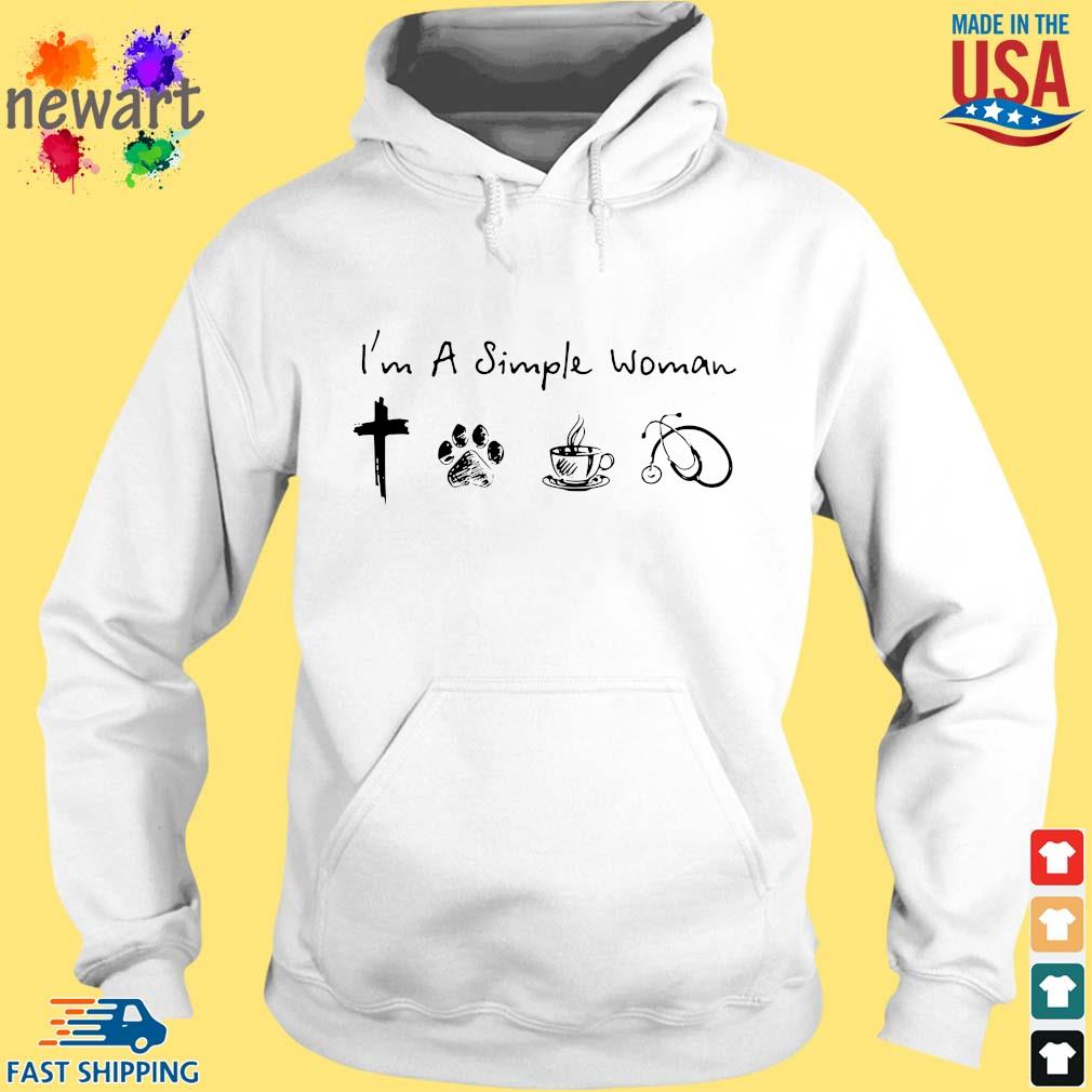 I'm A Simple Woman Cross Paw Coffee Stethoscope Shirt hoodie trang