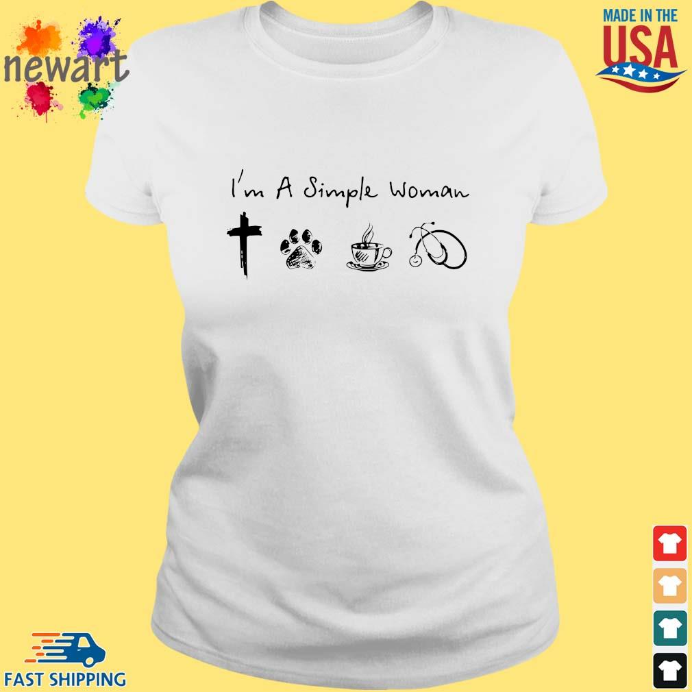 I'm A Simple Woman Cross Paw Coffee Stethoscope Shirt ladies trang