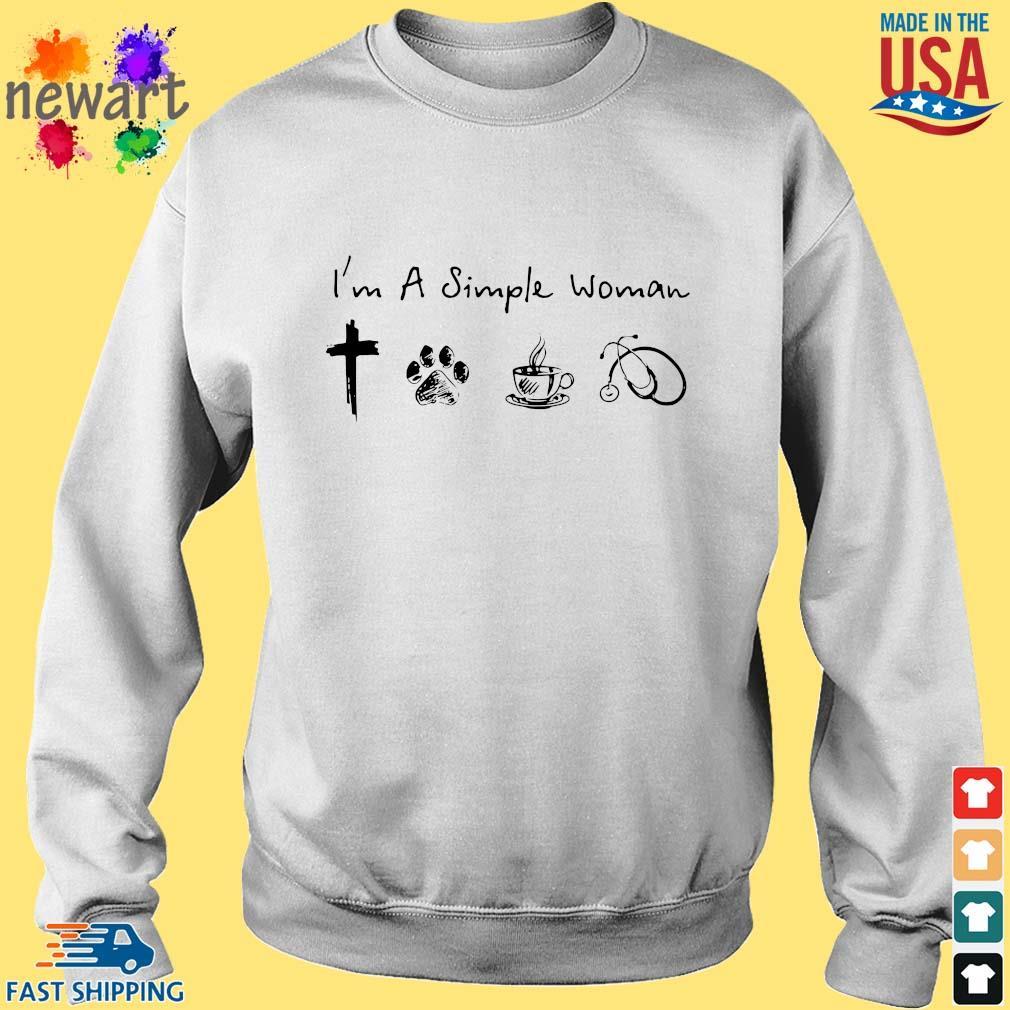 I'm A Simple Woman Cross Paw Coffee Stethoscope Shirt Sweater trang
