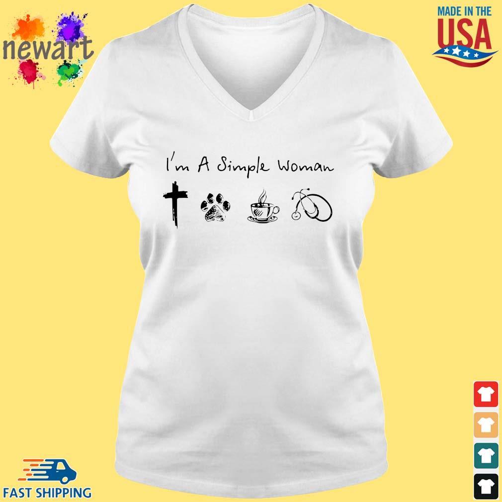 I'm A Simple Woman Cross Paw Coffee Stethoscope Shirt vneck trang