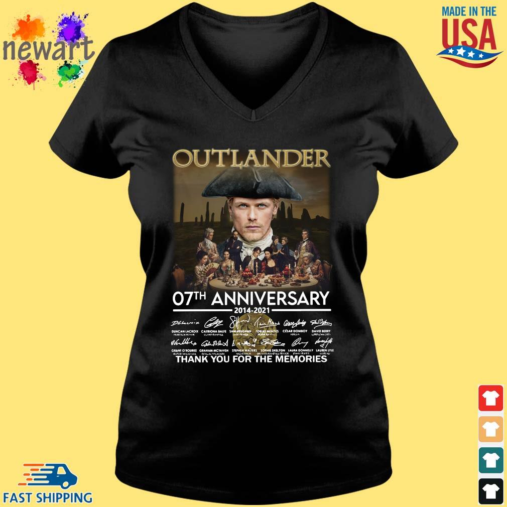 Outlander 07th anniversary 2014-2021 thank you for the memories signatures Vneck den