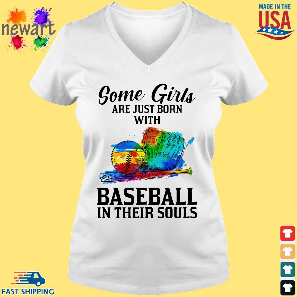 Some Girl Are Just Born With Basketball In Their Souls Shirt vneck trang