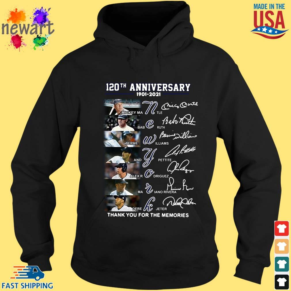 120th anniversary 1902-2021 New York thank you for the memories signatures hoodie den