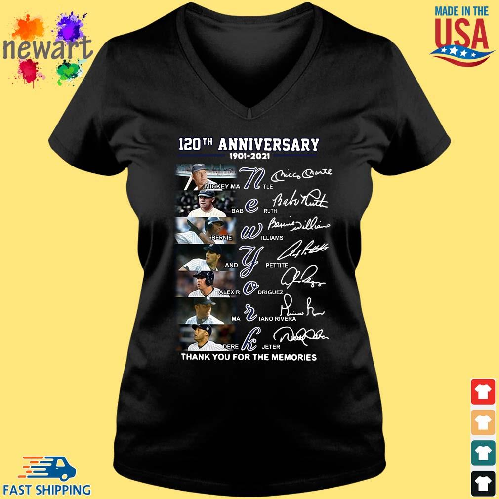 120th anniversary 1902-2021 New York thank you for the memories signatures Vneck den