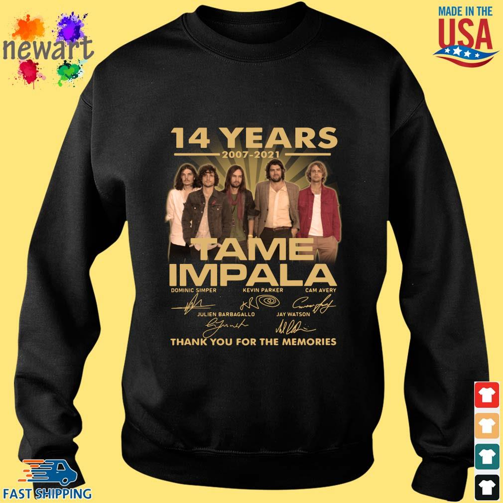 14 years 2007-2021 Tame Impala thank you for the memories signatures Sweater den
