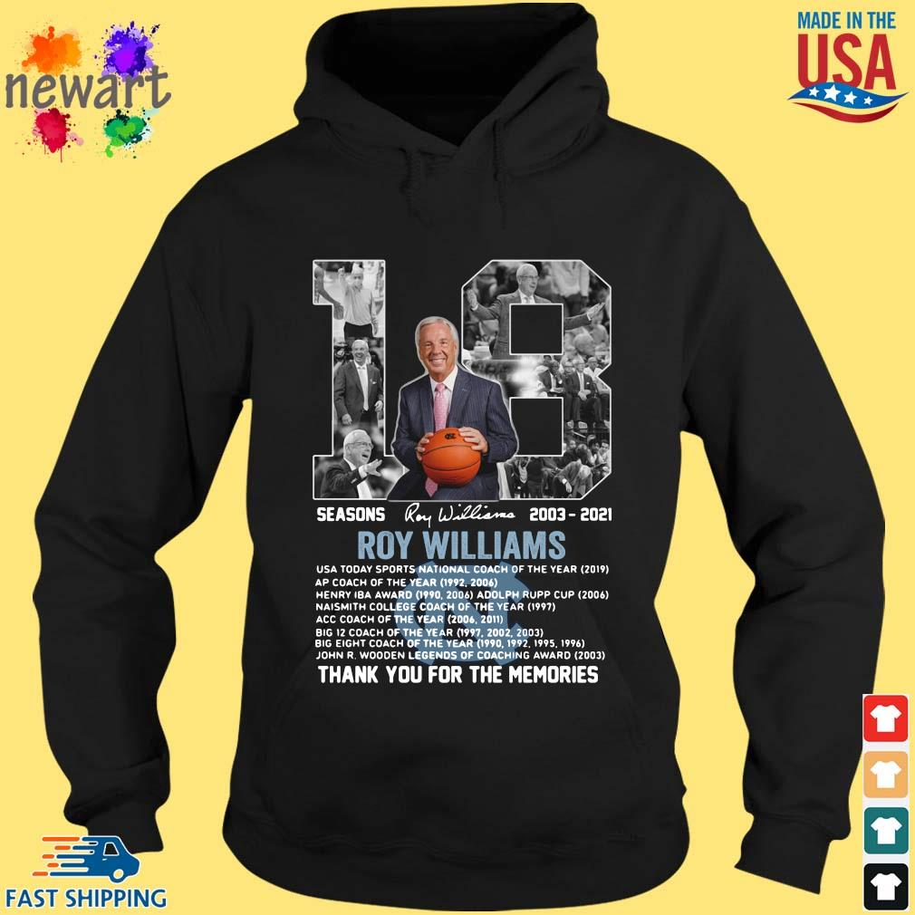 18 seasons 2003-2021 Roy Williams thank you for the memories signature hoodie den