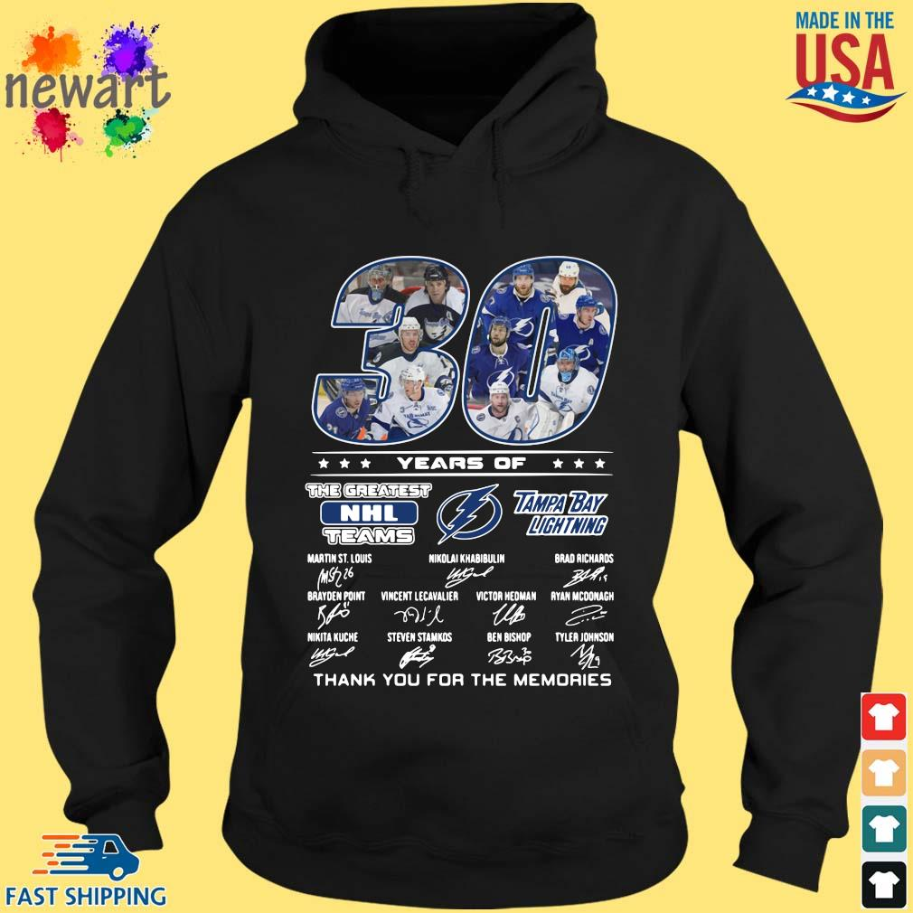 30 years of Tampa Bay Lightning the greatest NHL teams thank you for the memories signatures hoodie den