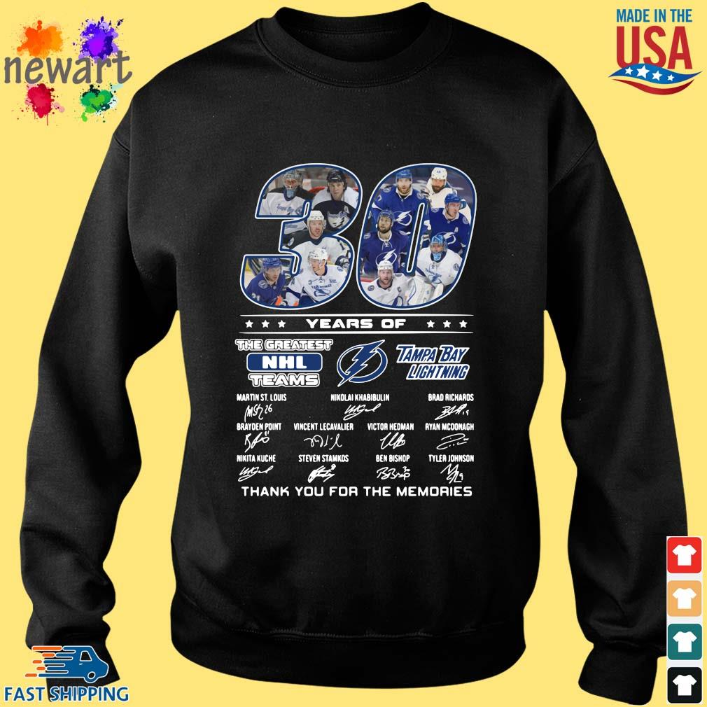 30 years of Tampa Bay Lightning the greatest NHL teams thank you for the memories signatures Sweater den