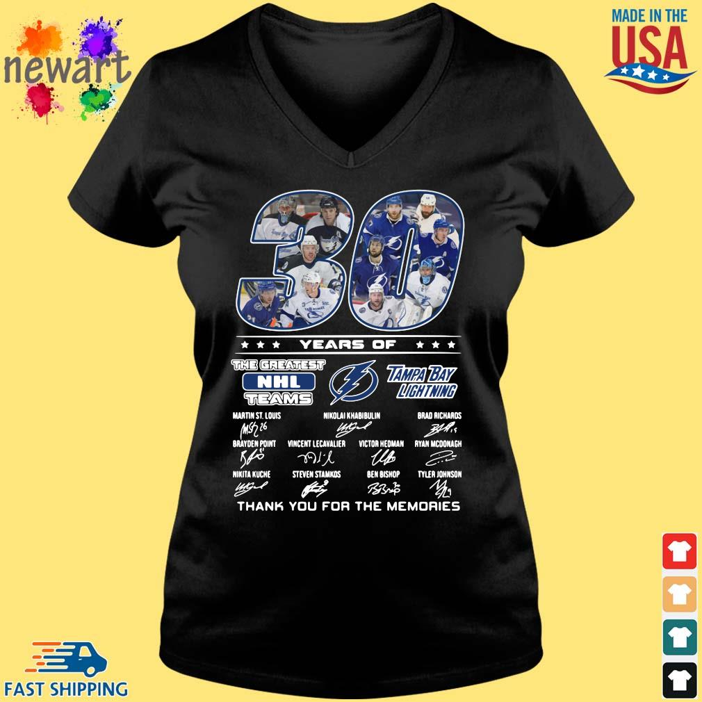 30 years of Tampa Bay Lightning the greatest NHL teams thank you for the memories signatures Vneck den