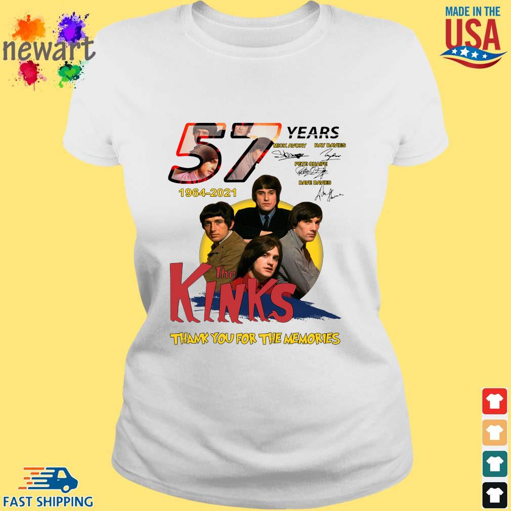 57 Years 1964 2021 The Kinks Signatures Thank You For The Memories Shirt ladies trang