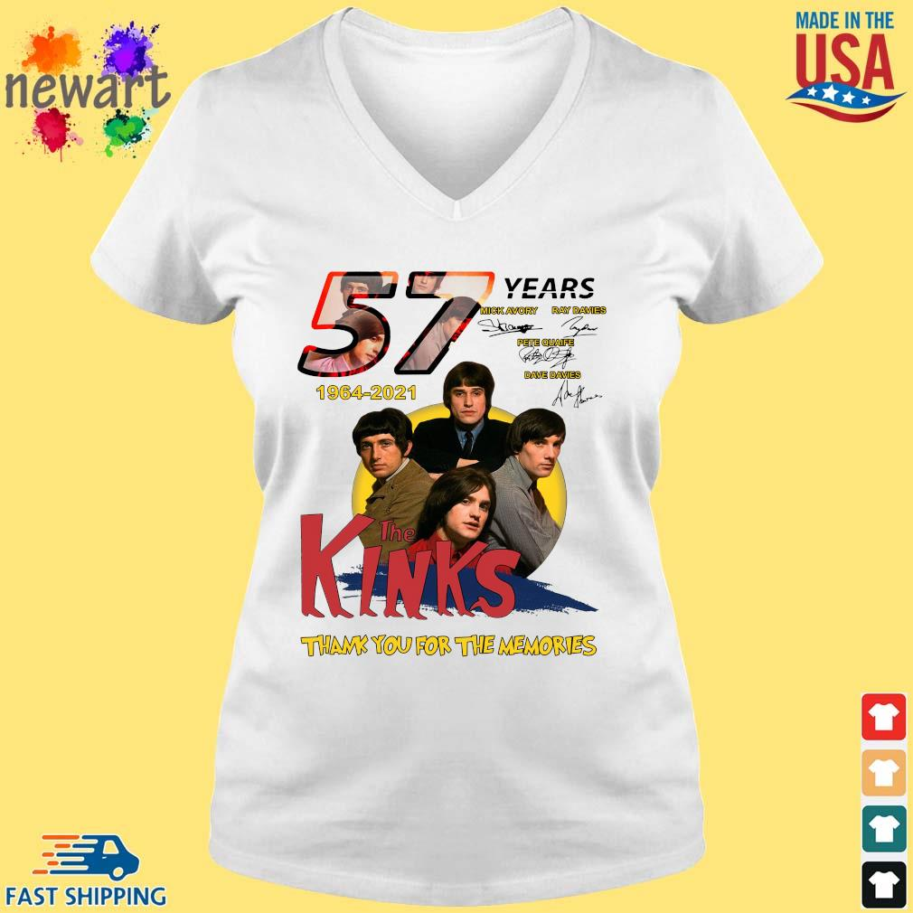 57 Years 1964 2021 The Kinks Signatures Thank You For The Memories Shirt vneck trang