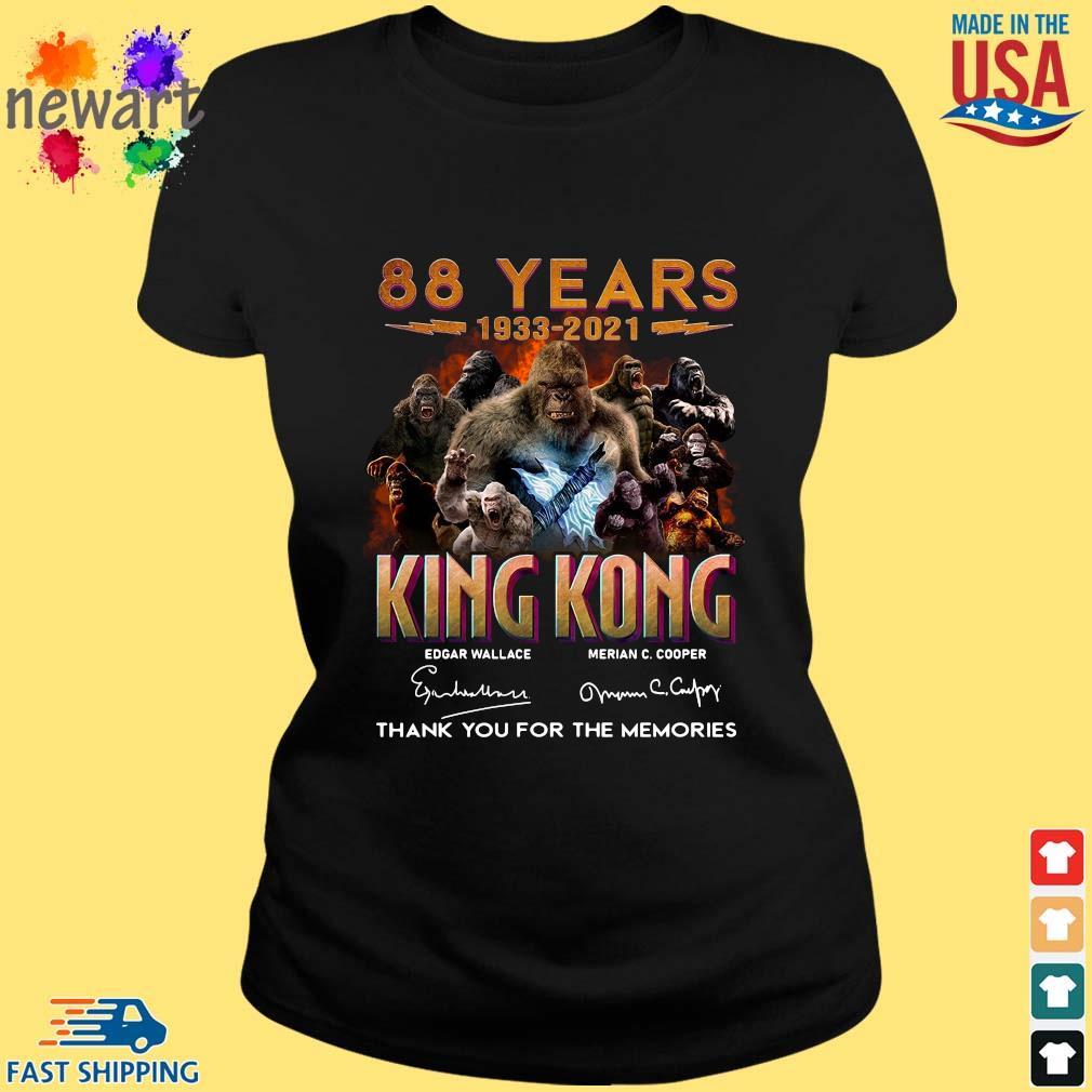 88 Years 1933 2021 King Kong Signatures Thank You Shirt ladies den