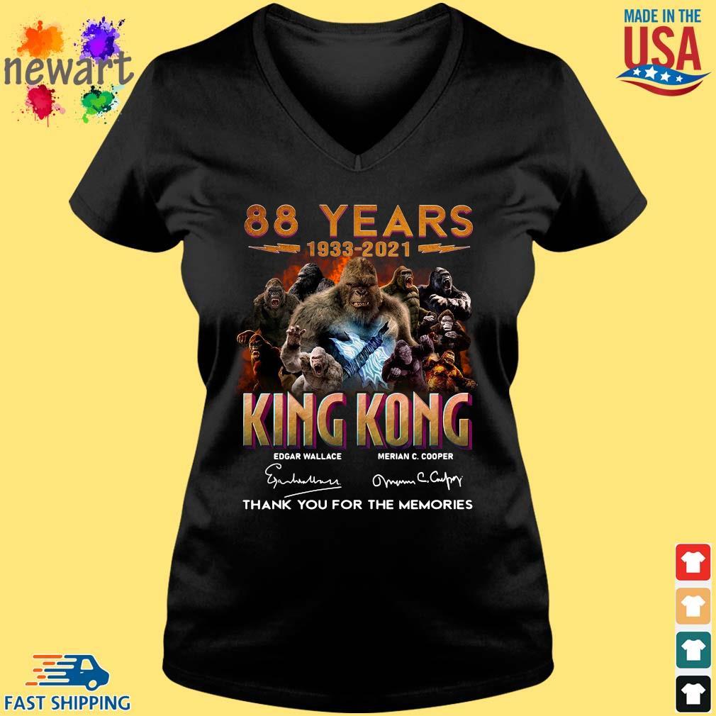 88 Years 1933 2021 King Kong Signatures Thank You Shirt Vneck den