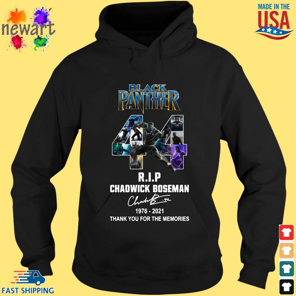 Black Panther 44 Years 1976-2021 RIP Chadwick Boseman thank you for the memories signature hoodie den