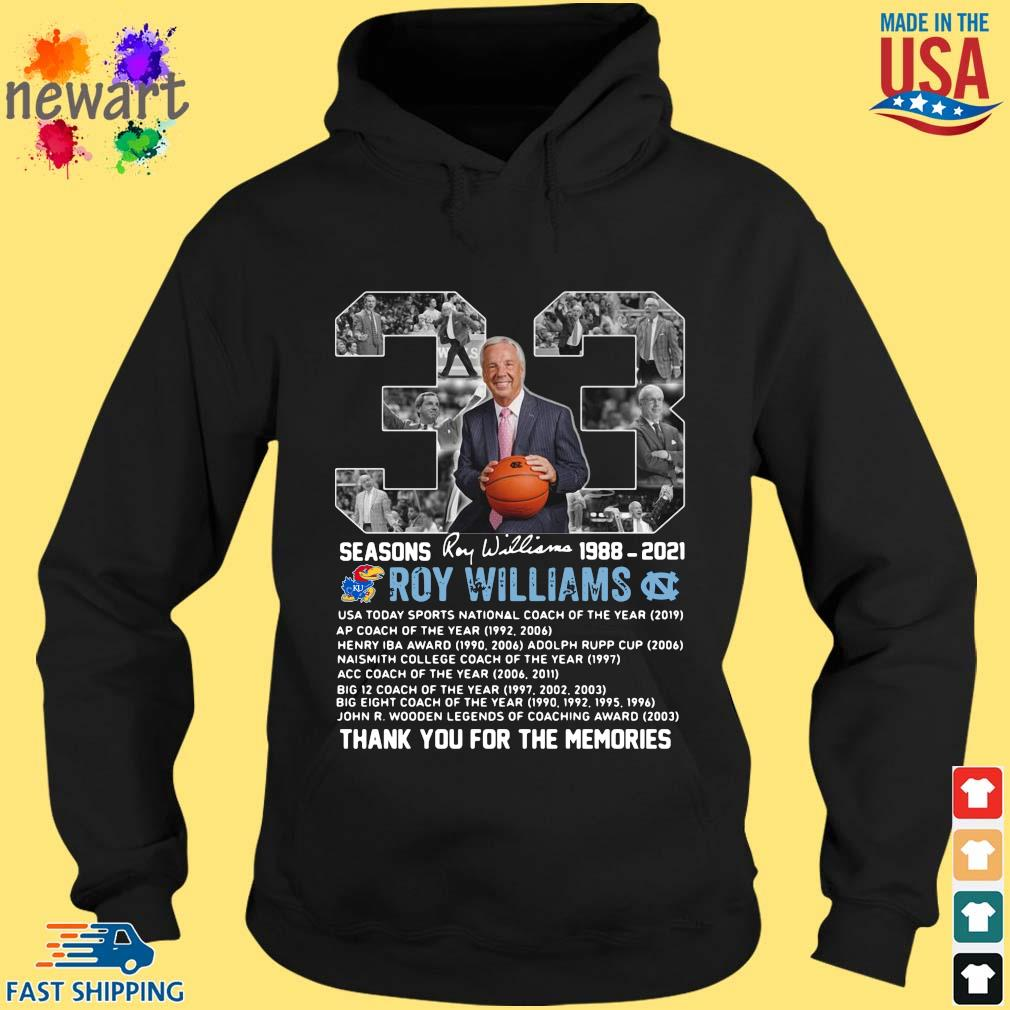 33 seasons 1988-2021 Roy Williams thank you for the memories signature hoodie den