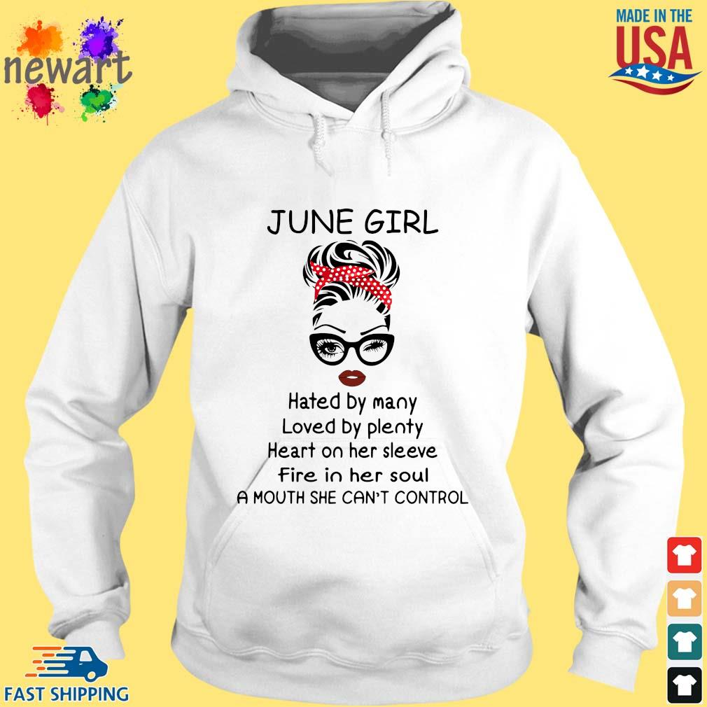 June girl hated by many loved by plenty heart on her sleeve hoodie trang
