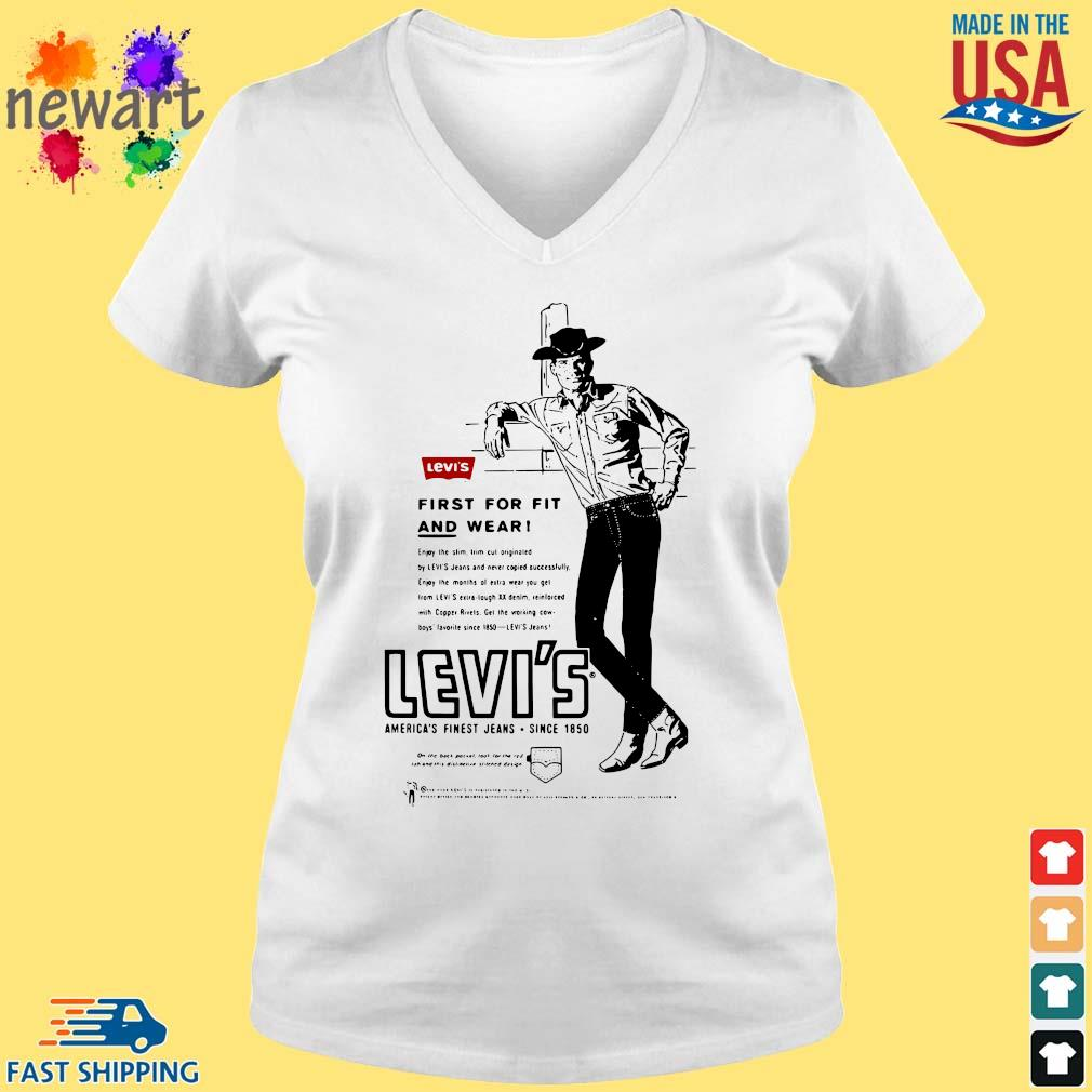 Levi's first for fit and wear America's finest jeans since 1850 vneck trang