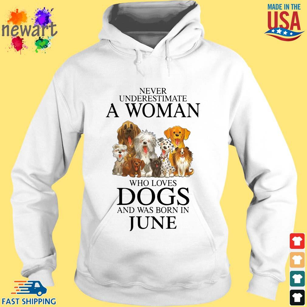 Never underestimate an old man who loves dogs and was born in june hoodie trang