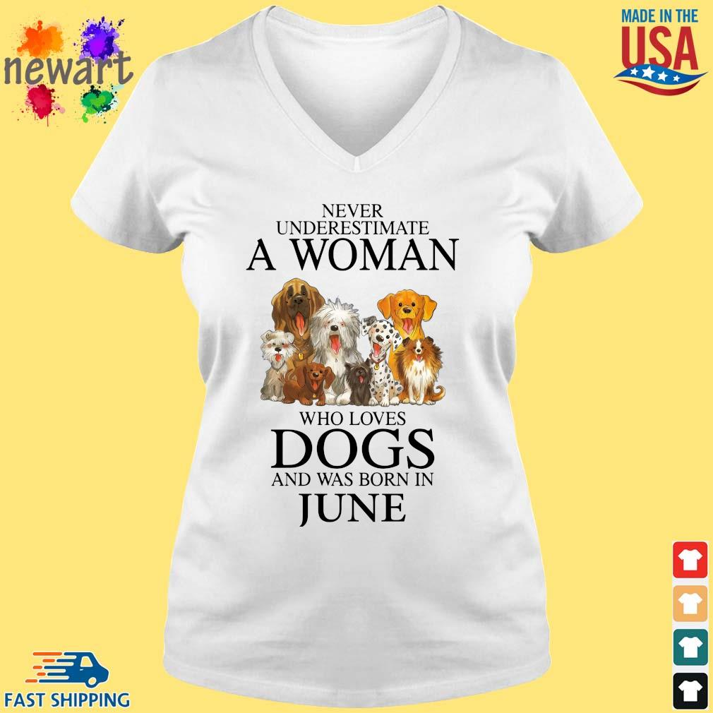 Never underestimate an old man who loves dogs and was born in june vneck trang