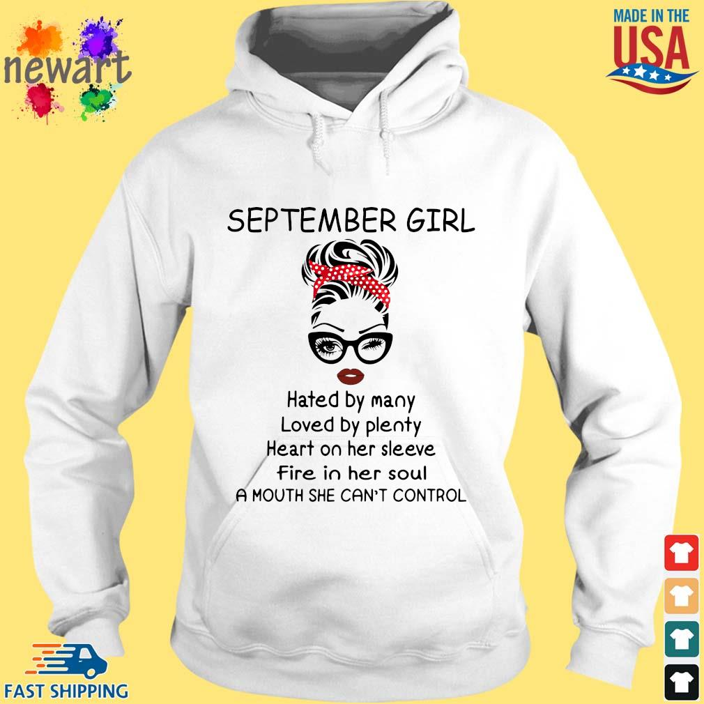 September girl hated by many loved by plenty heart on her sleeve hoodie trang
