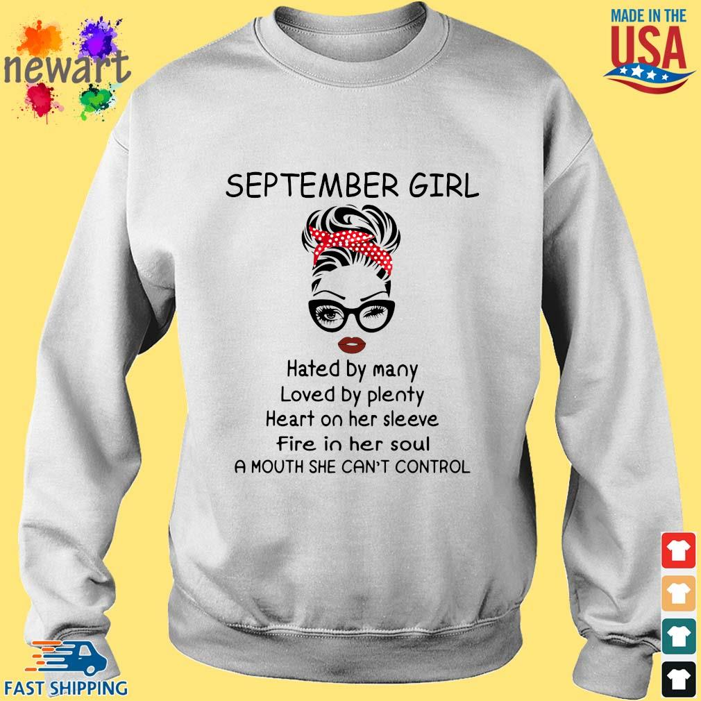 September girl hated by many loved by plenty heart on her sleeve Sweater trang